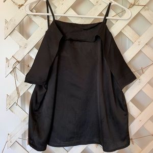 Black satin top with off-the-shoulder straps